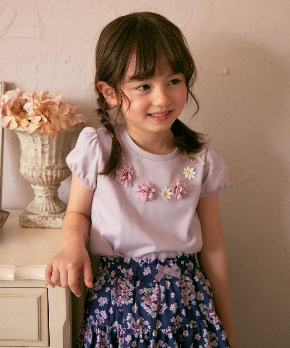 any FAM KIDS フラワーモチーフネックレス風 パフスリーブTシャツ ライトグレー系
