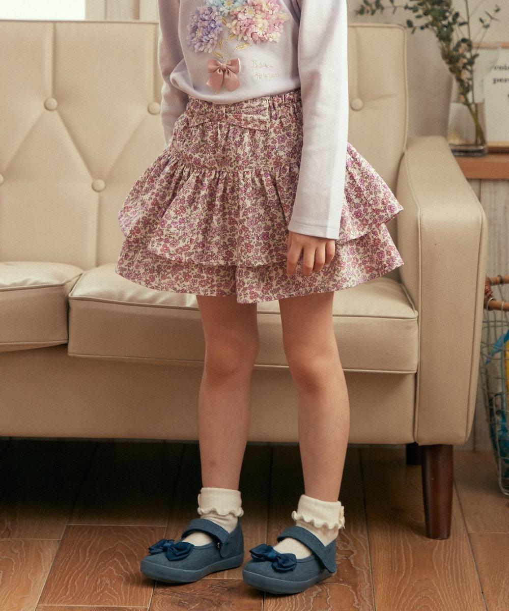 any FAM KIDS チェック柄 花柄 フリルキュロット ピンク系5