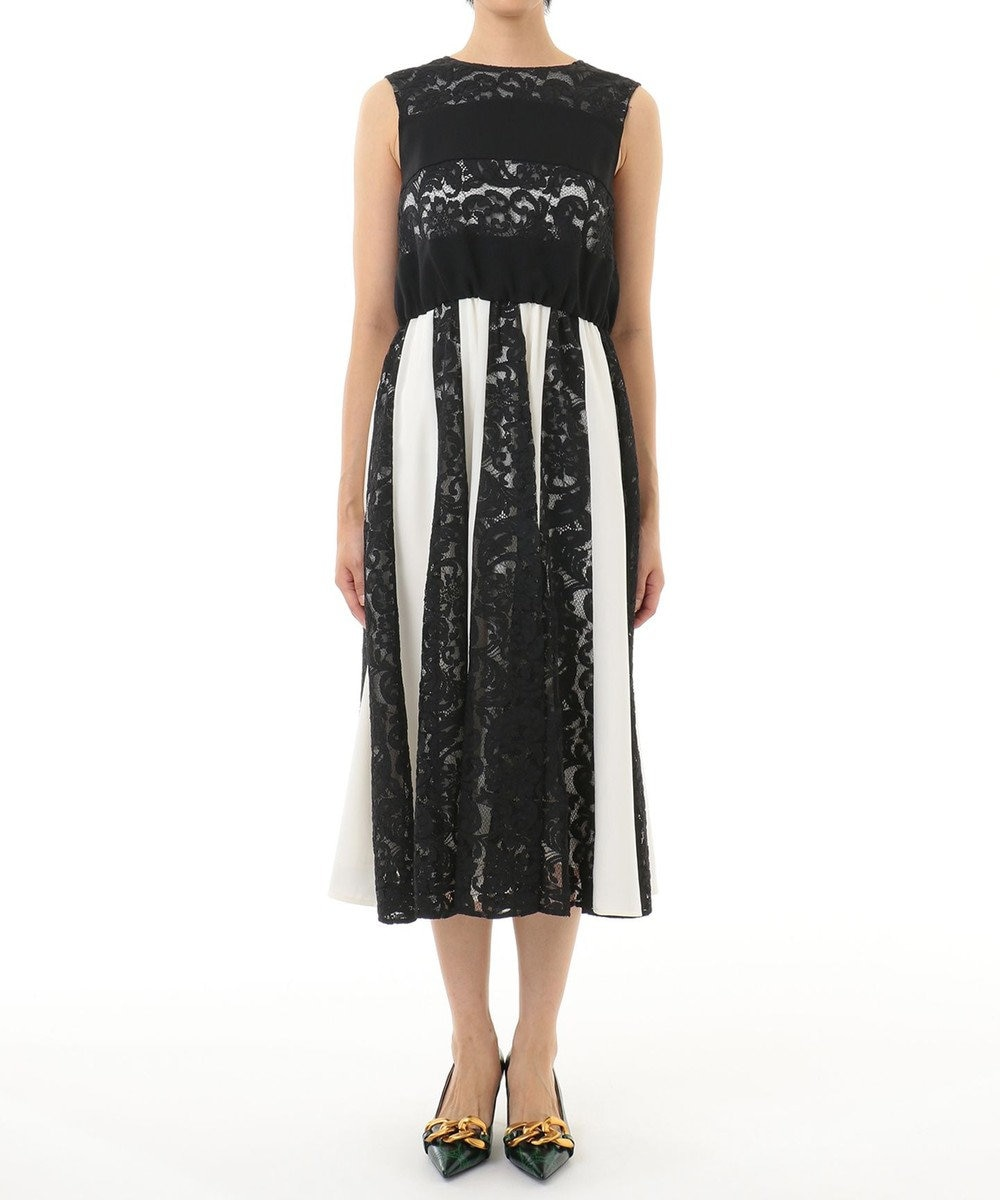 GRACE CONTINENTAL レース切替配色ドレス ブラック