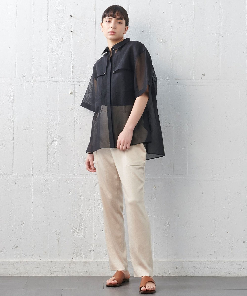 JOSEPH 【JOSEPH STUDIO・洗える】オーガンジーコットン シャツブラウス ブラック系