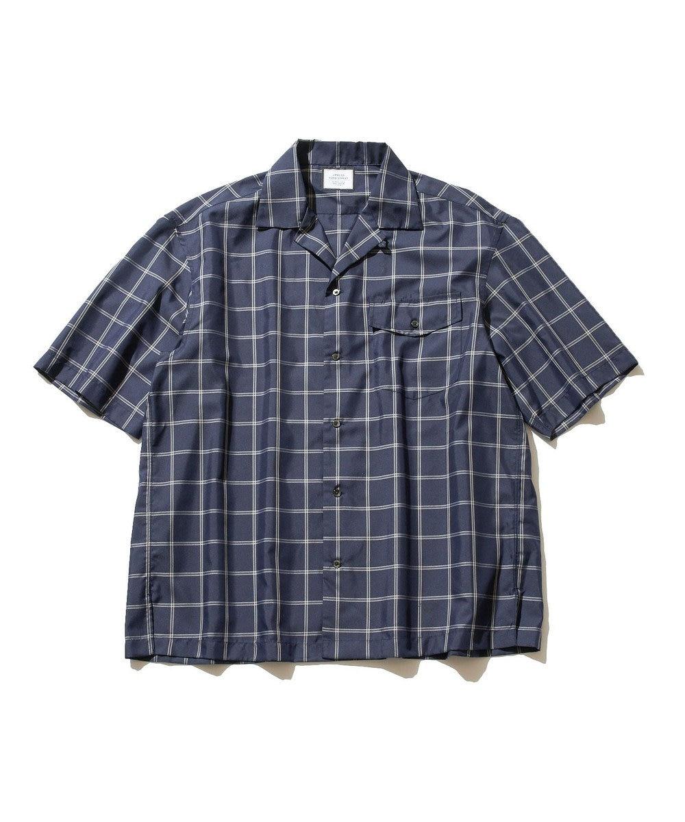 J.PRESS YORK STREET 【UNISEX】ツイルチェック オープンカラーシャツ ネイビー系1