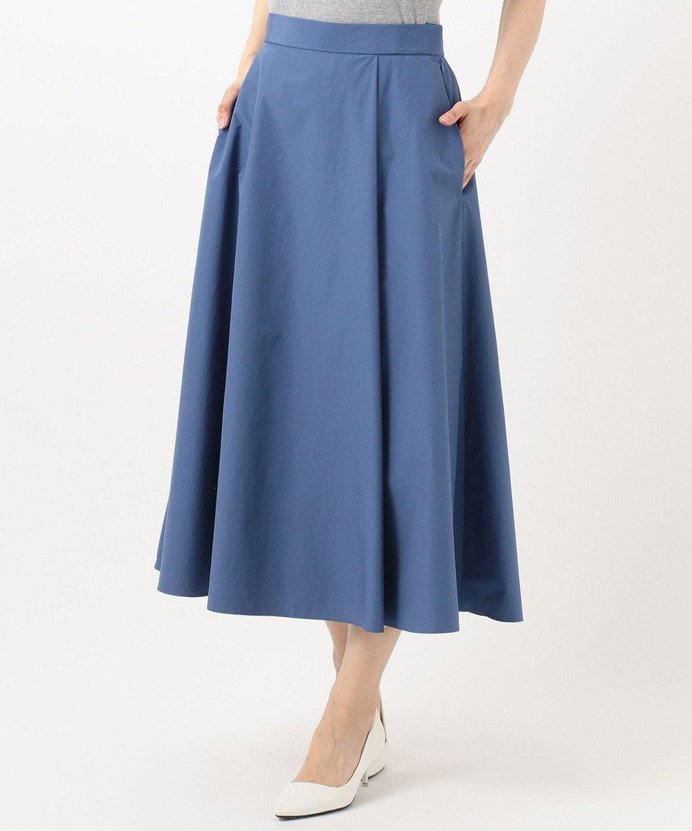 組曲 S 【洗える】タフタ フレアスカート ブルー系