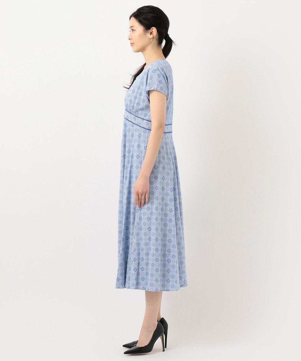 自由区 【洗える】ジャカード ワンピース ブルー系7