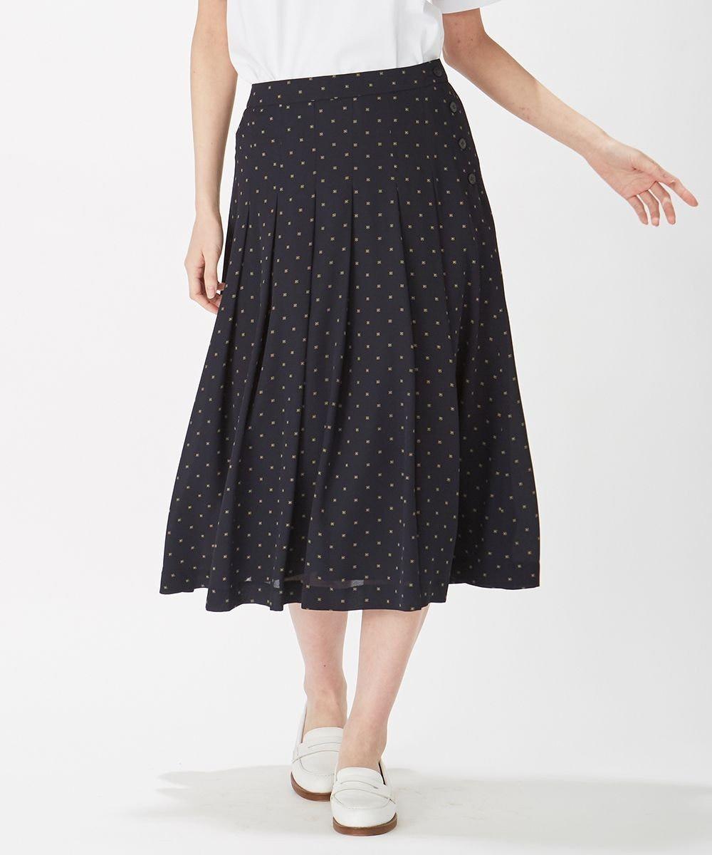 J.PRESS LADIES L 【洗える】ポリエステル デシン幾何プリント スカート ネイビー系5