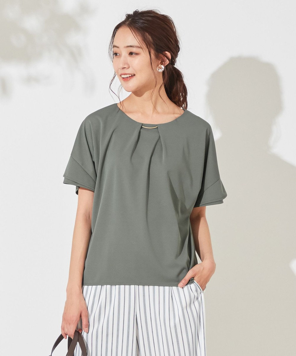 any SiS 【UVケア】エアリードレープスムース 半袖 トップス ディープミント