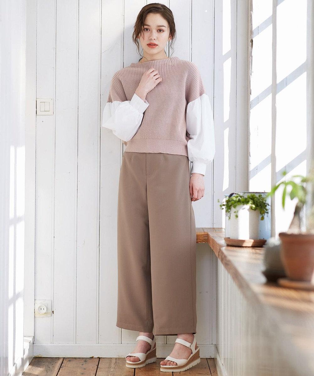 Feroux 【洗える】シャツコンビ ニット ピンク系