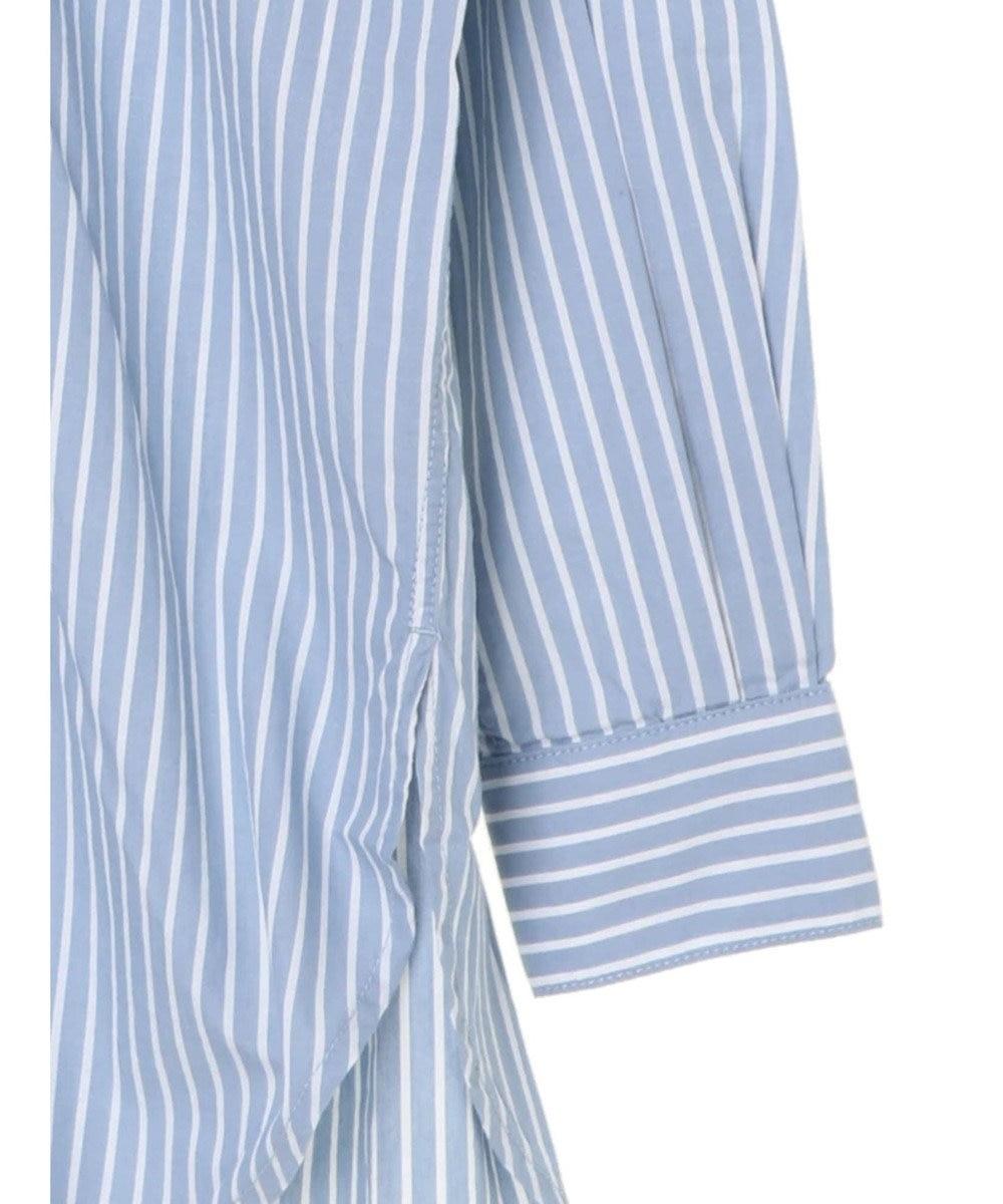 Green Parks レギュラーカラーチュニシャツ Stripe Blue