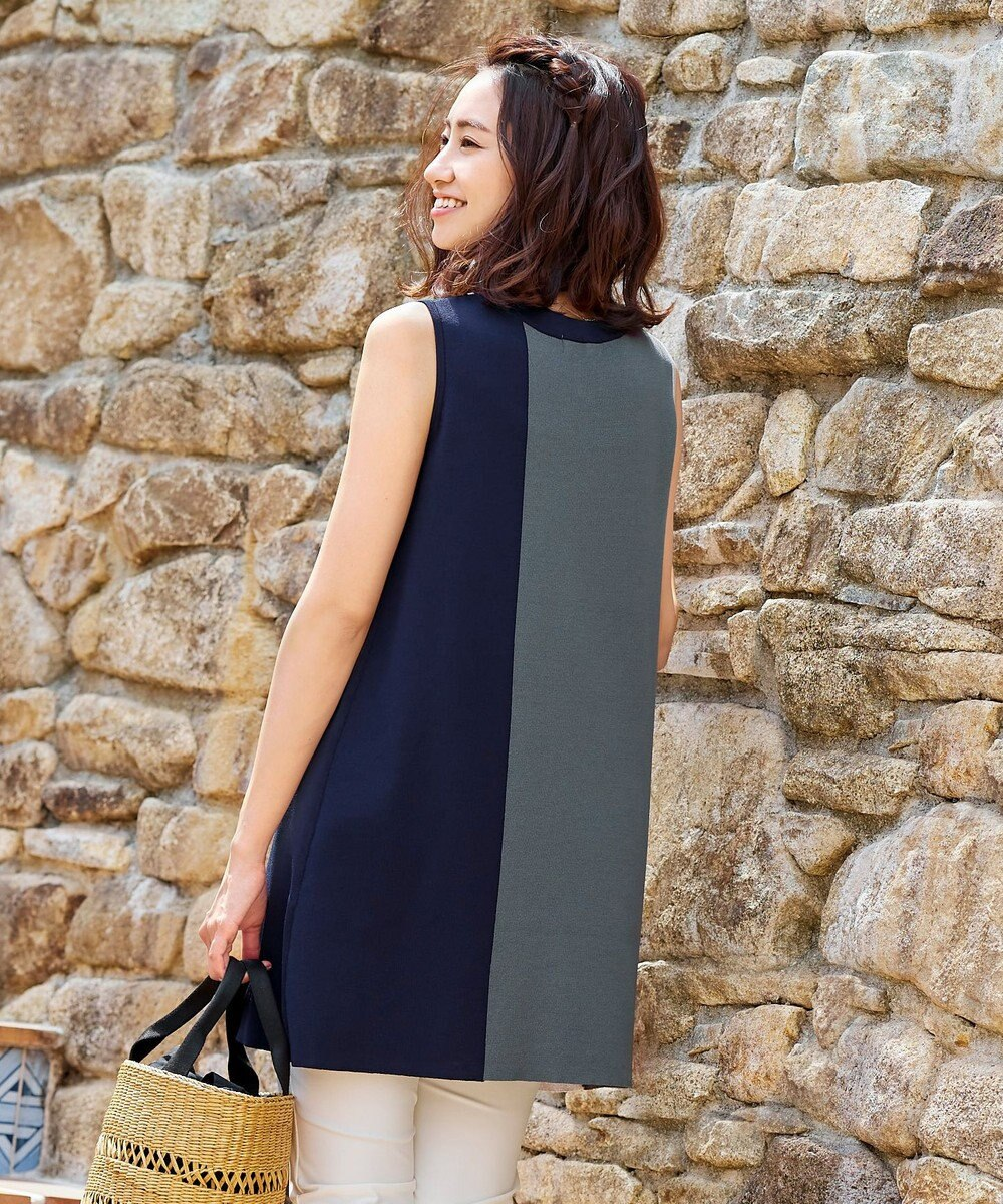 Tiaclasse 【洗える】体型カバーも叶うカラーブロック配色ニットチュニック チャコールグレー