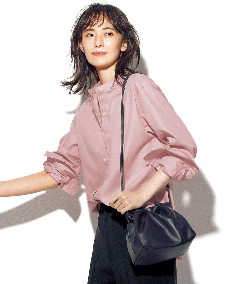 23区 【マガジン掲載】CANCLINI バンドカラー シャツ(番号2G33) ピンク系