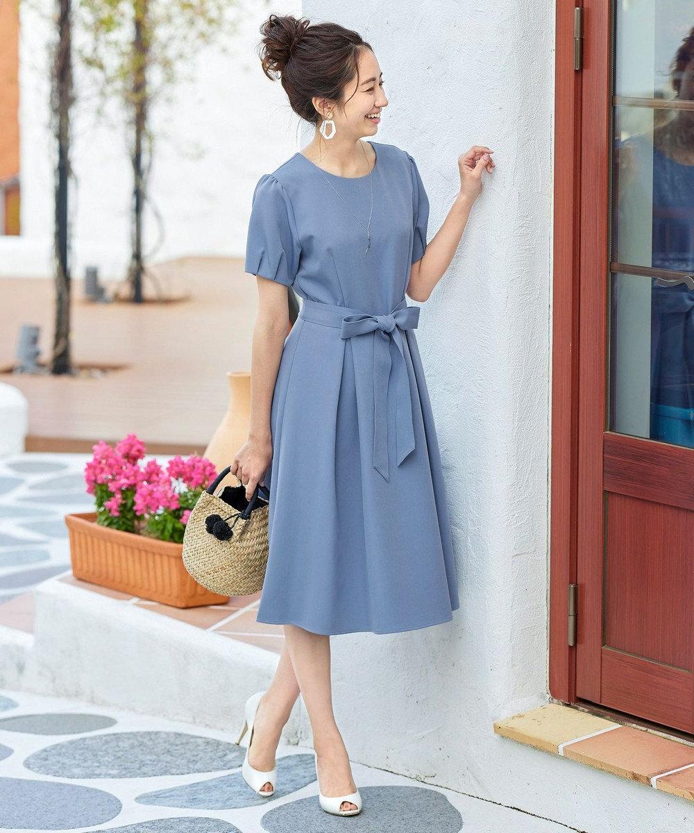 Tiaclasse 【洗える】大人可愛いタックパフ袖ワンピース ブルー