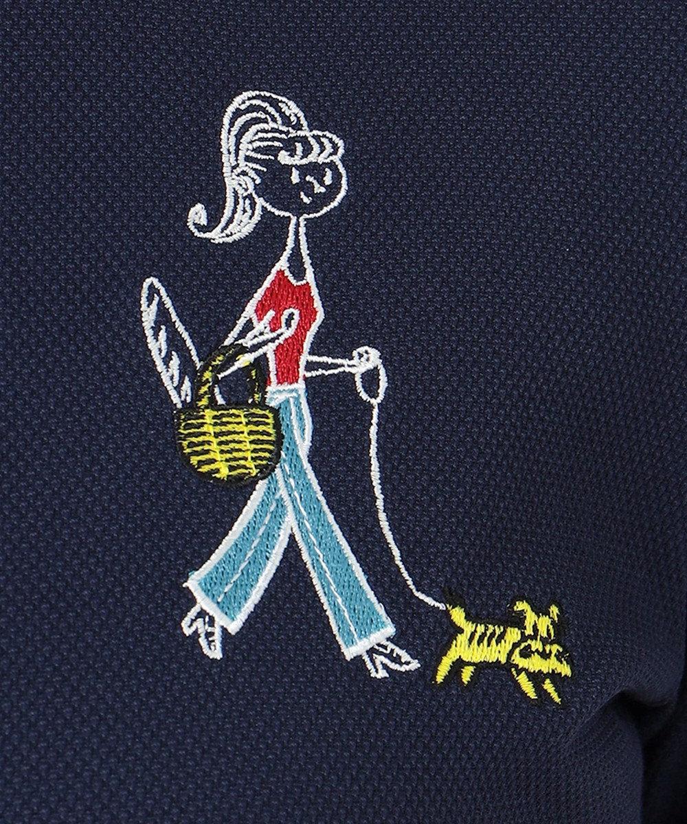 23区GOLF 【WOMEN】【吸汗速乾/UV】25周年 イラストレーターコラボ刺繍 シャツ ネイビー系