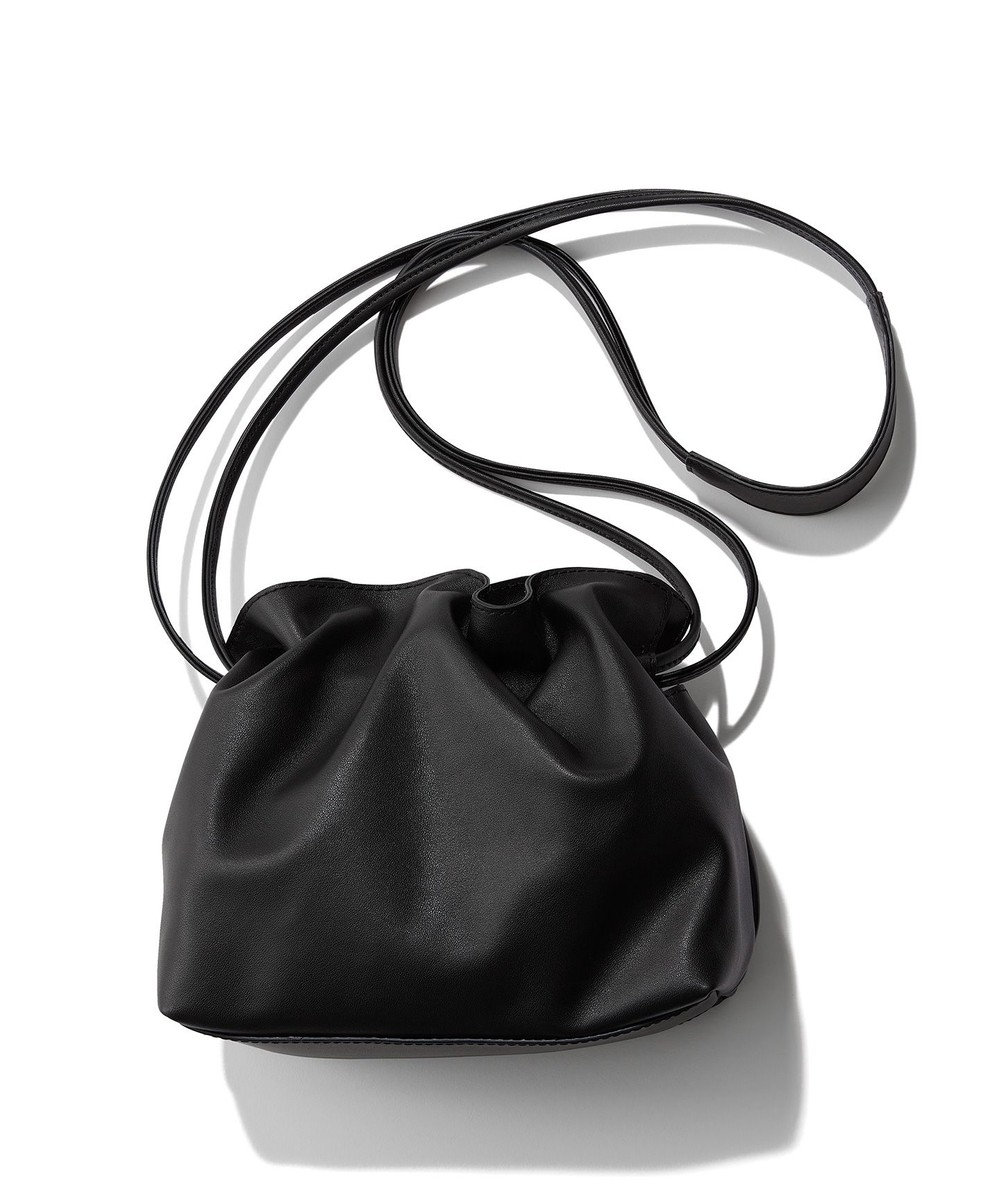 23区 【マガジン掲載】レザー巾着 ショルダーバッグ(番号2E42) ブラック系