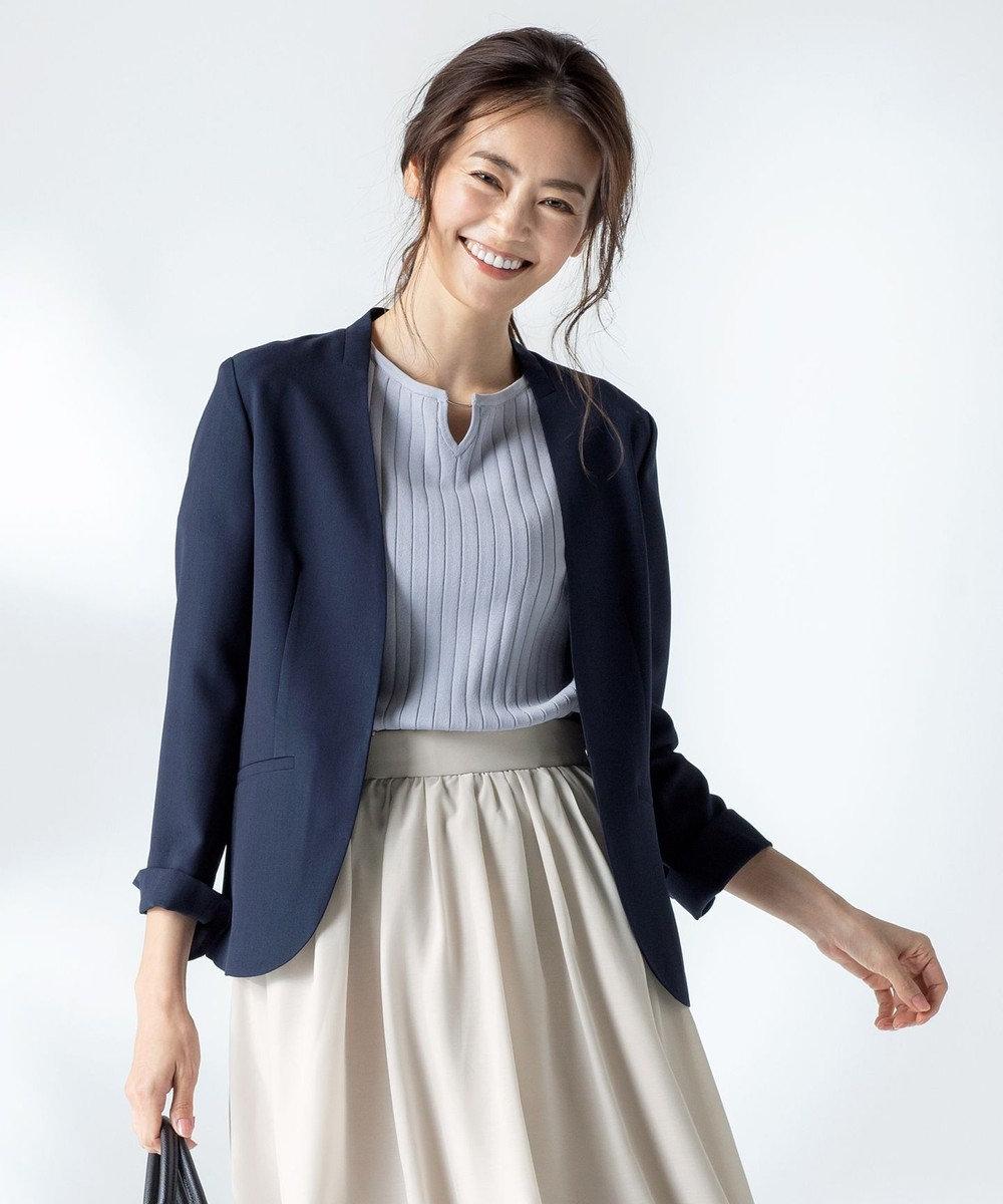 any SiS 【洗える】カラーレスライト ジャケット ネイビー系