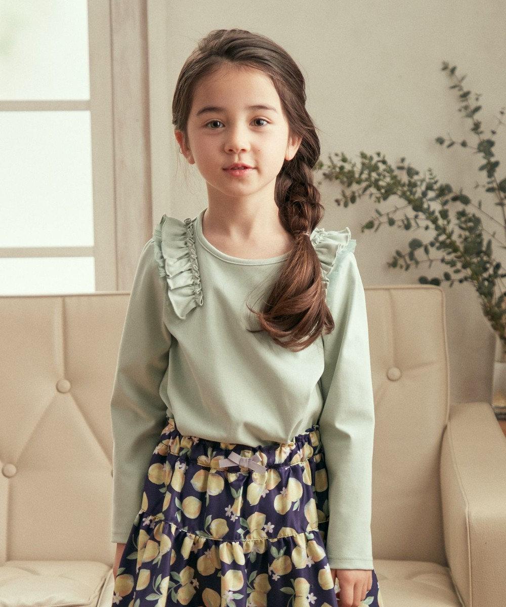 any FAM KIDS 肩フリル オーガビッツ 長袖Tシャツ ミント