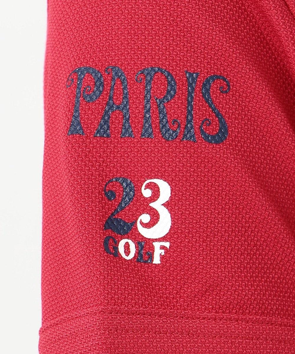 23区GOLF 【WOMEN】【吸汗速乾/UV】25周年 イラストレーターコラボ刺繍 シャツ レッド系