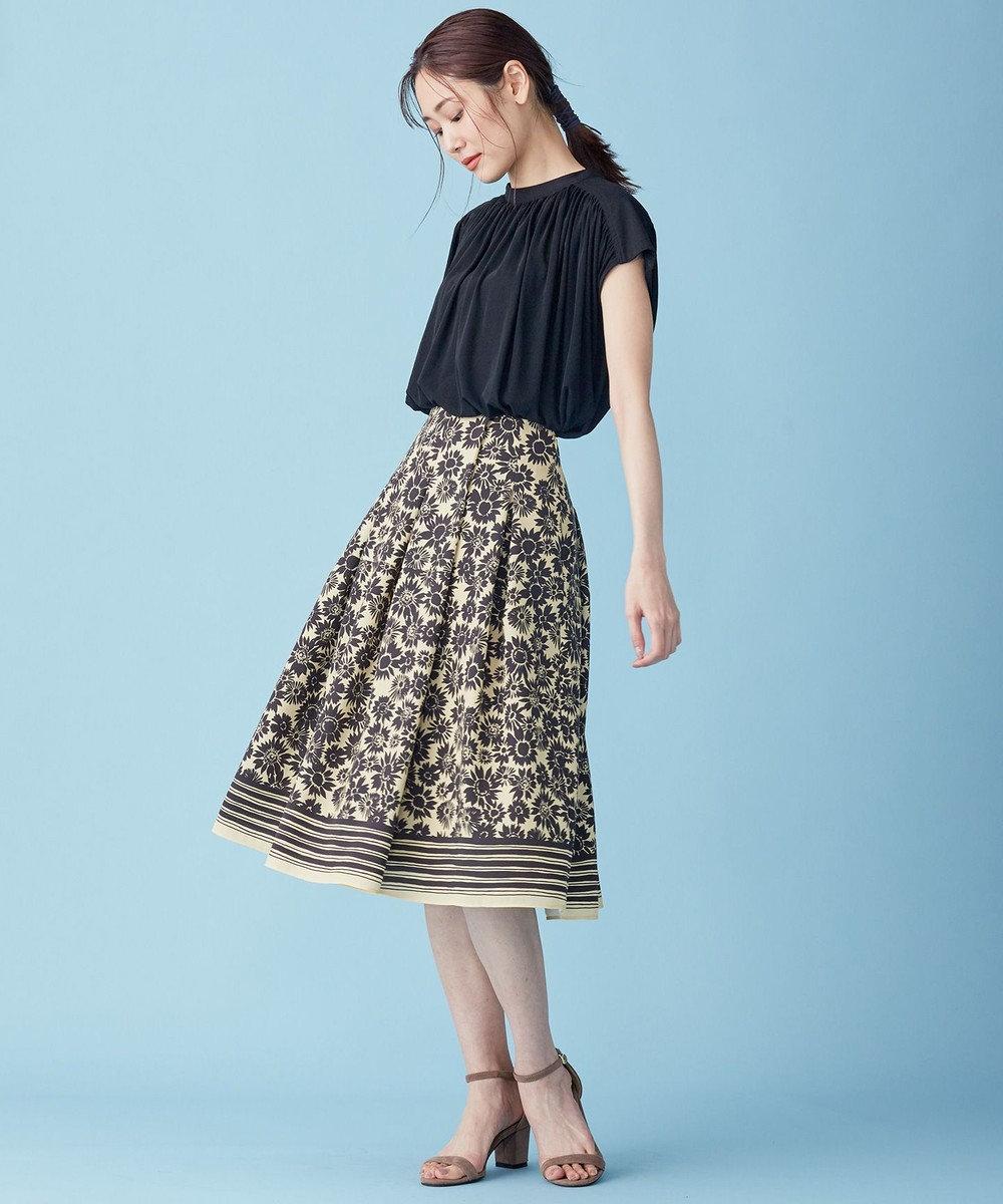 組曲 【Rythme KUMIKYOKU】サンフラワープリントトロ フレアスカート ベージュ系5