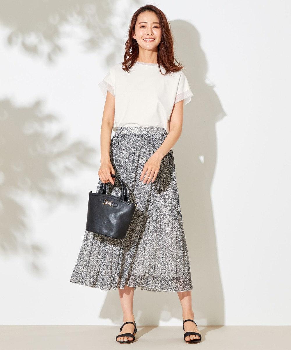 any SiS L 【洗える】刺繍風ミニフラワープリント スカート モノトーン系