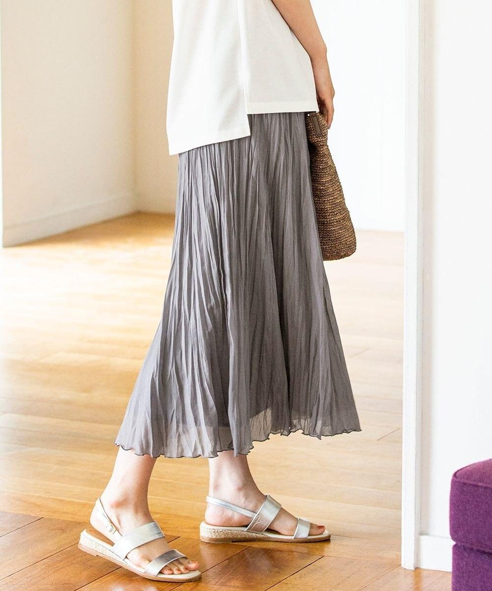 J.PRESS LADIES 【洗える】ブライトスパンボイル スカート グレー系