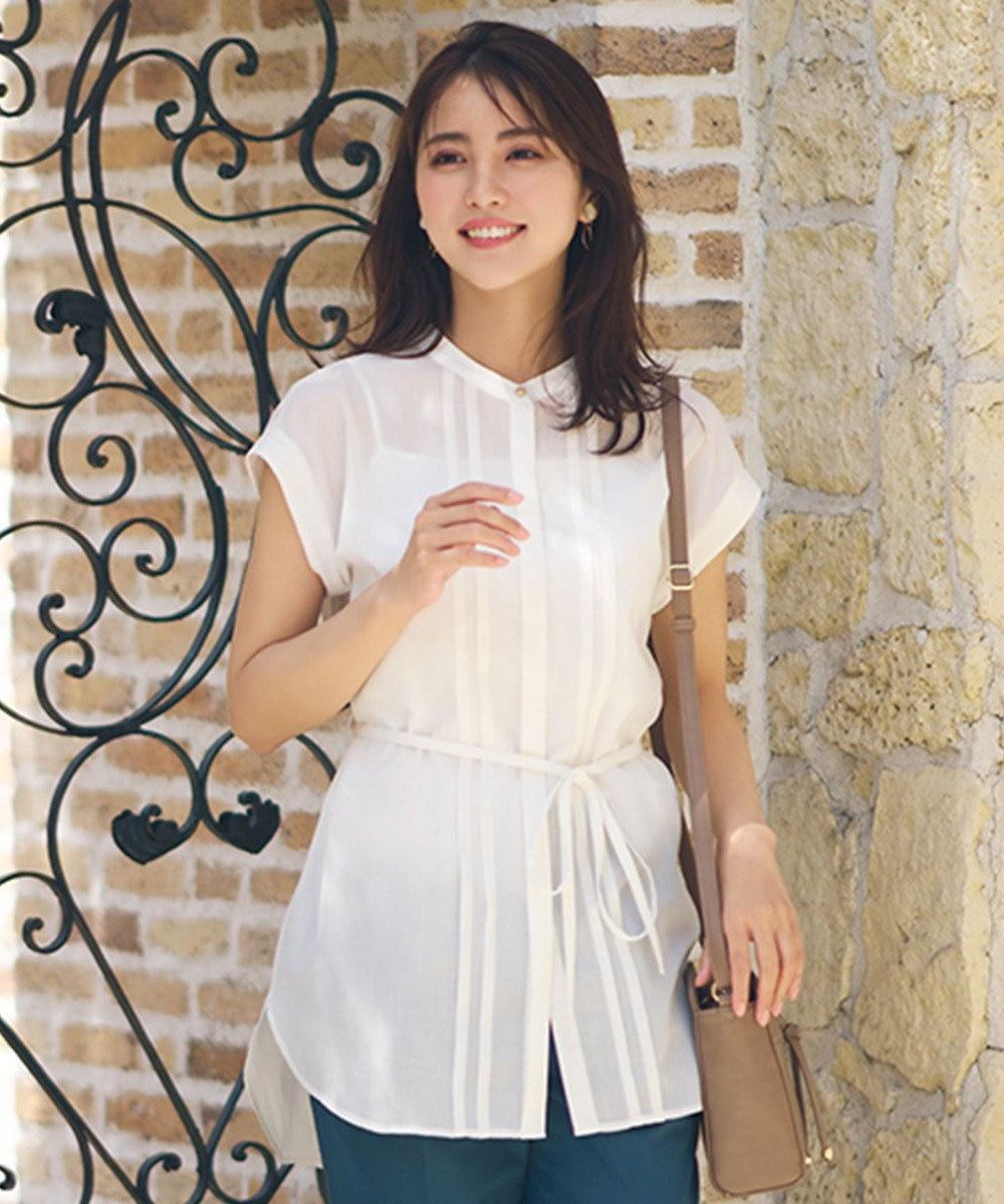 any SiS S 【洗える】タックシアー シャツ オフホワイト