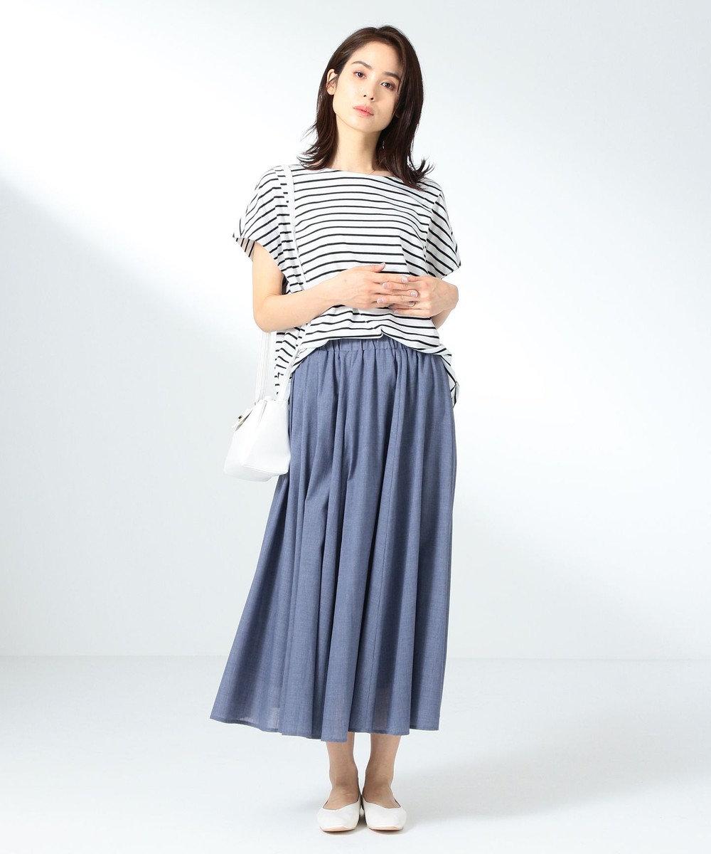 any FAM 【シワになりにくい】シャンブレーライク スカート スカイブルー系