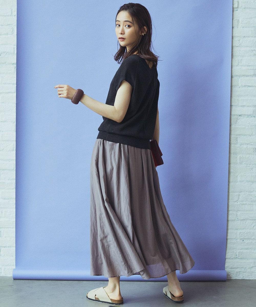 組曲 L 【洗える】コットンシルクローン フレアスカート グレー系