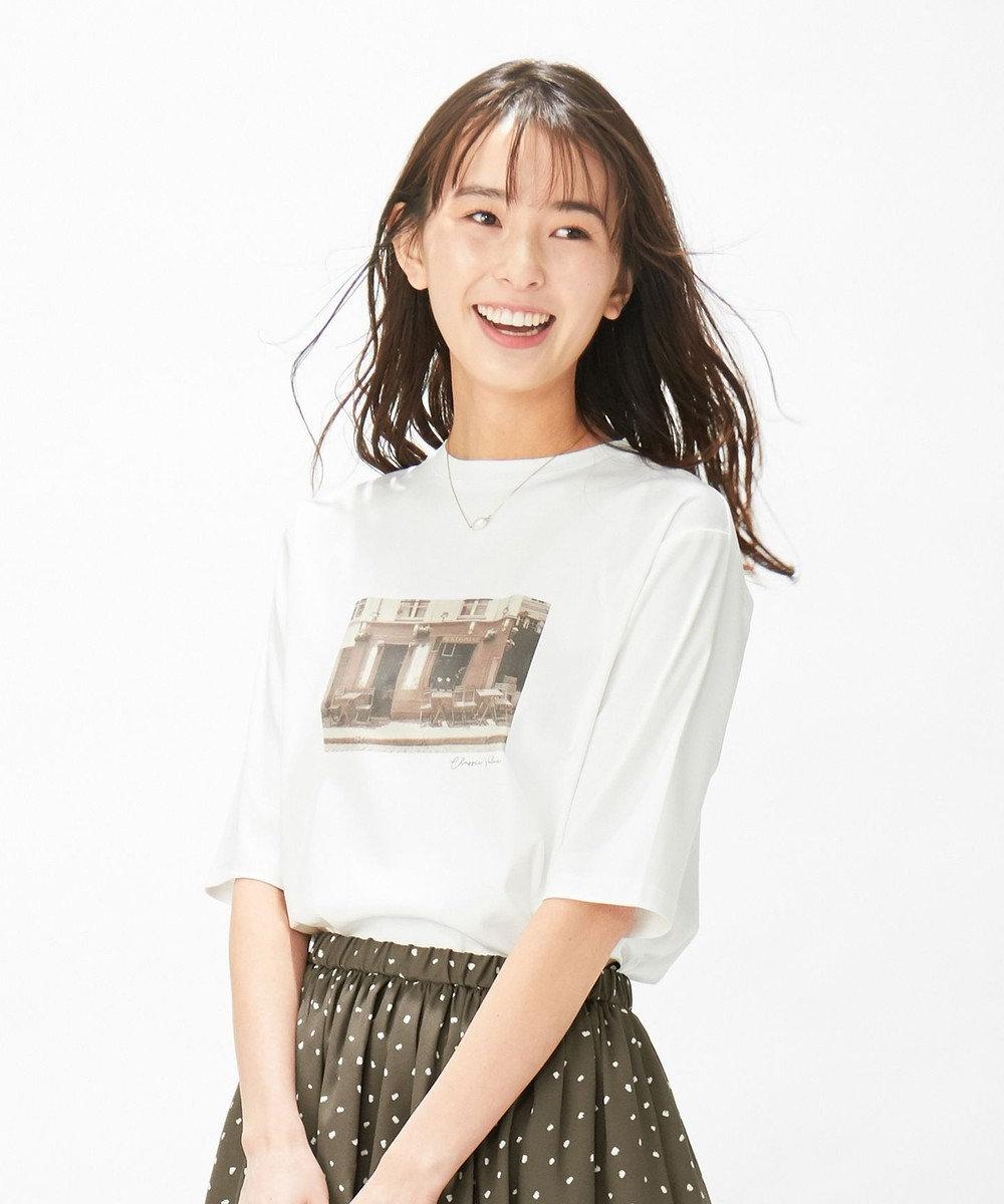 J.PRESS LADIES S 【洗える】フォト Tシャツ ホワイト系