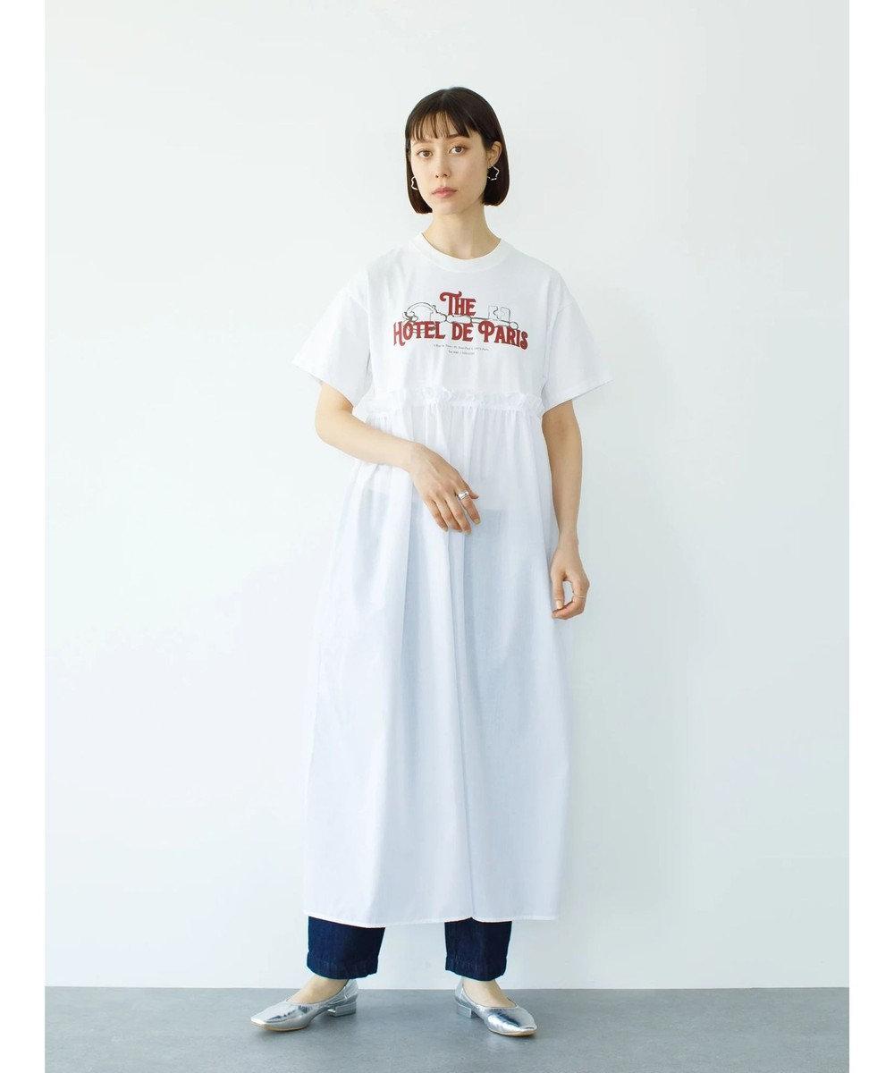 koe グラフィックT切替ワンピース White