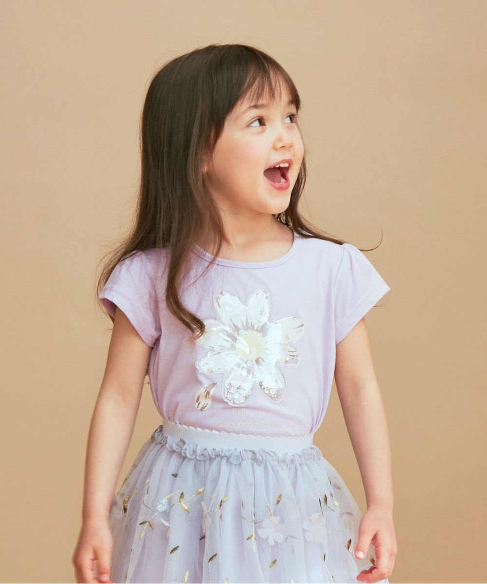 any FAM KIDS シャラシャラビーズ Tシャツ ラベンダー(花)