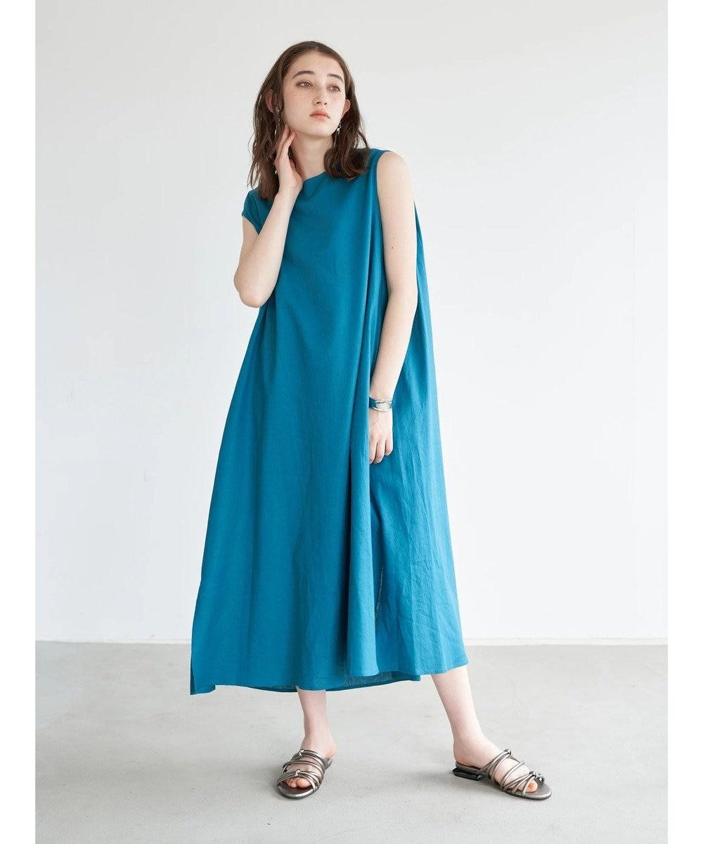YECCA VECCA レーヨン麻Aラインワンピース Blue Green