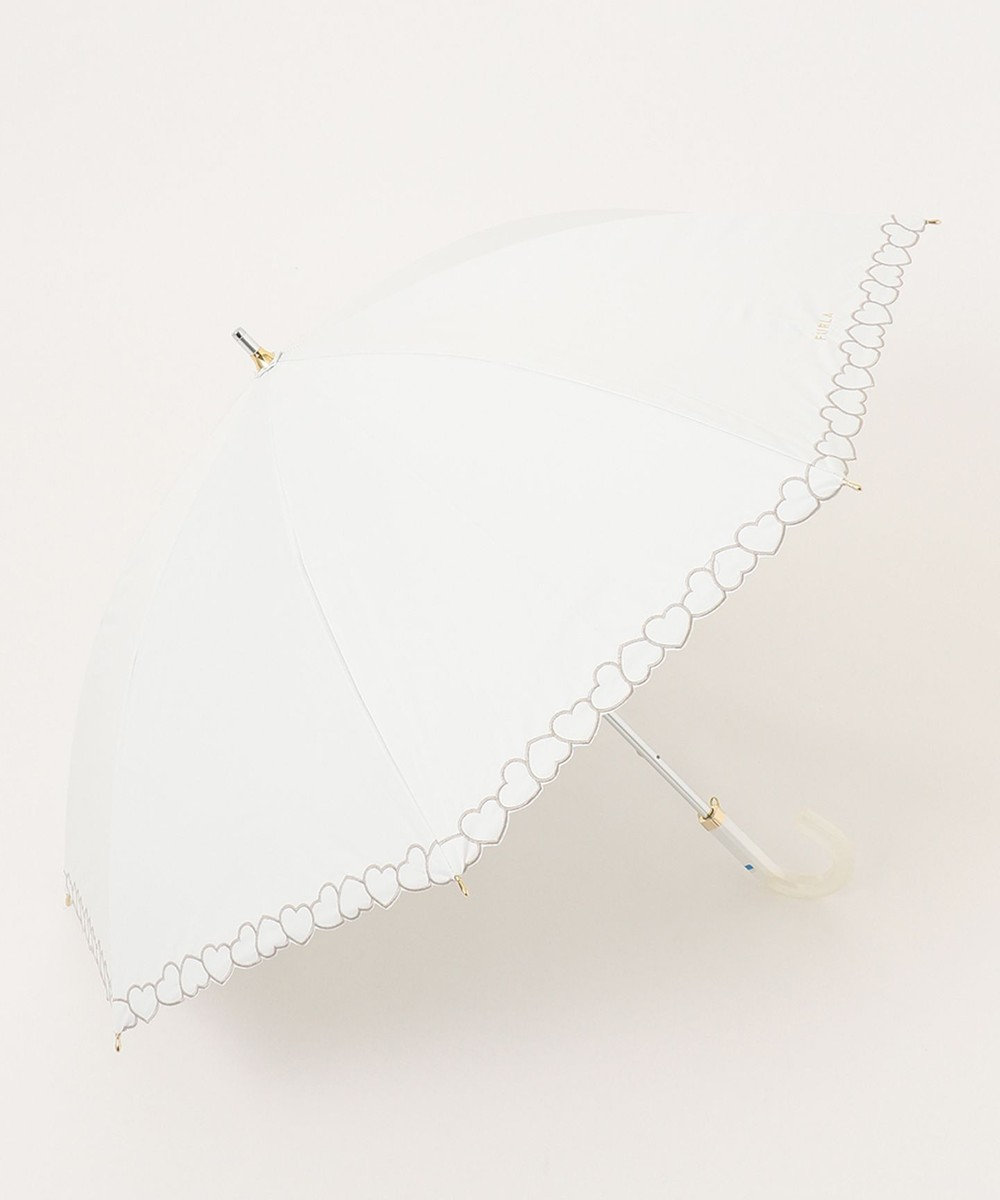 MOONBAT 【一級遮光】FURLA 晴雨兼用長傘 ハート刺繍 ホワイト