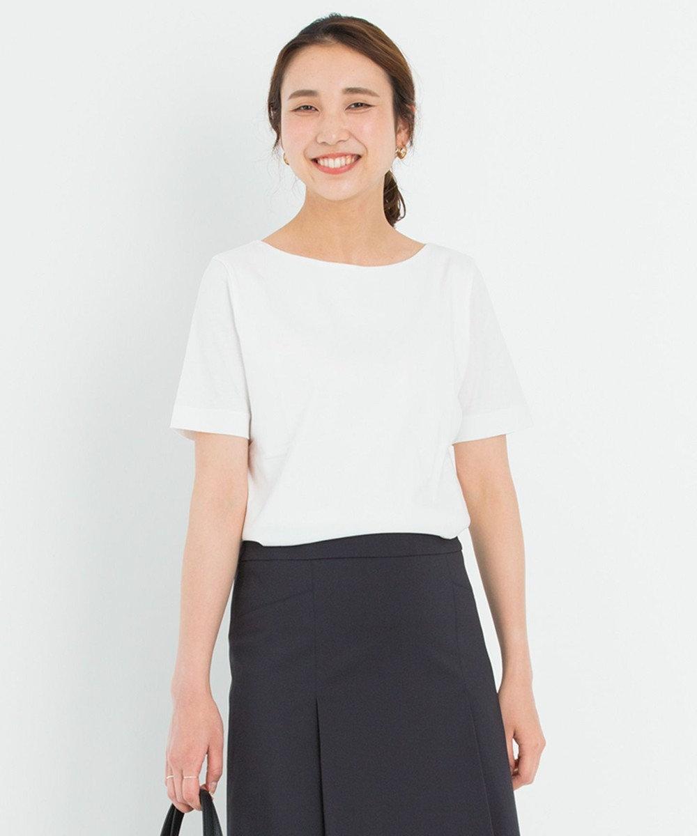 23区 S 【洗える】DOUBLE SMOOTH ボートネック Tシャツ ホワイト系
