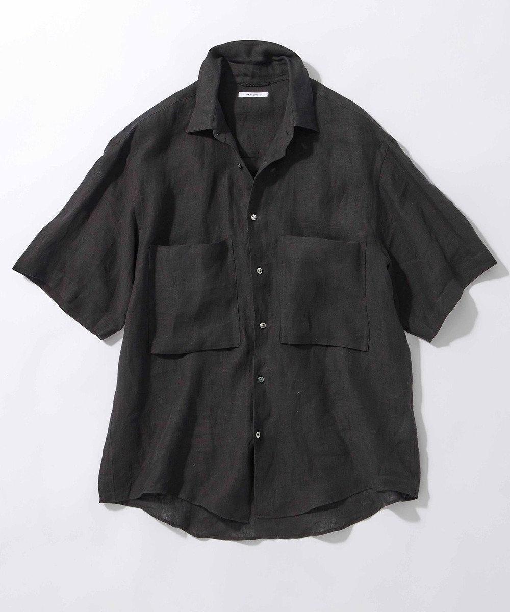 23区 【ユニセックス】LIBECO 半袖 シャツ(番号2T28) チャコールグレー系