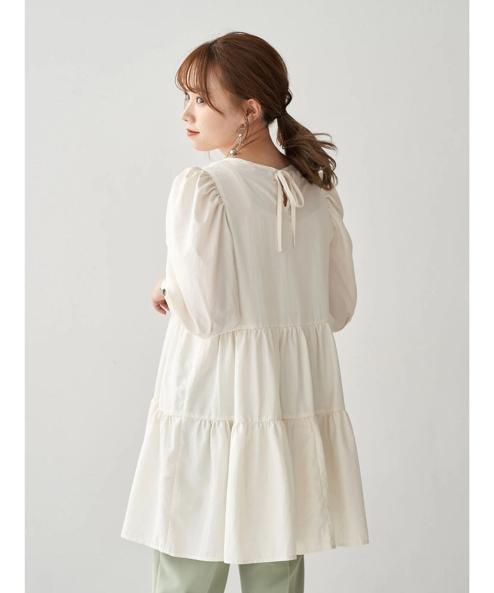 earth music&ecology バックリボンティアードチュニック Off White