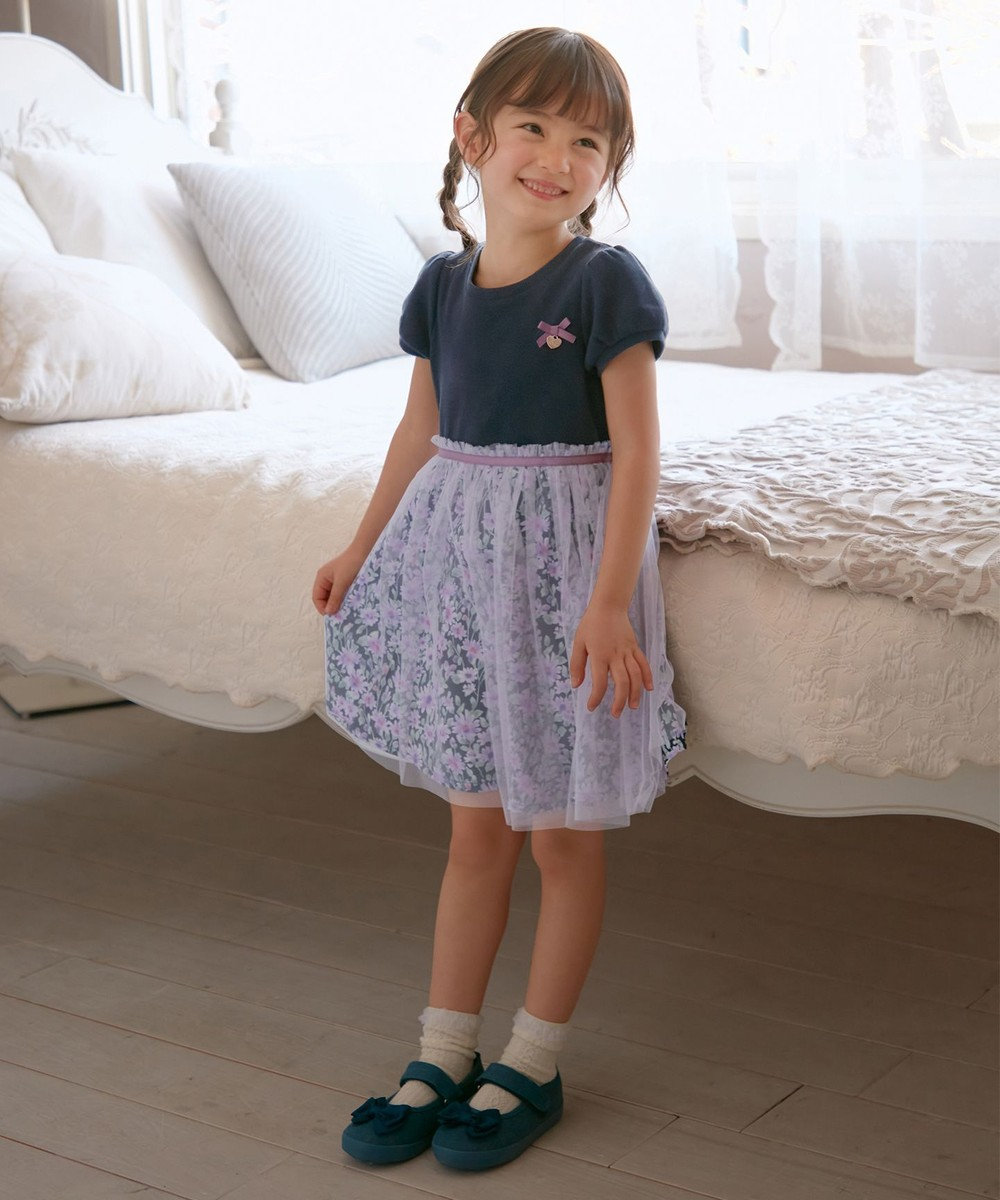 any FAM KIDS リボン バレエシューズ ネイビー系