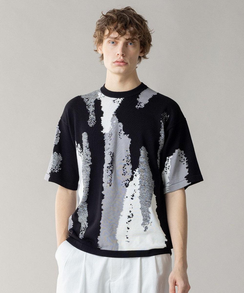 JOSEPH HOMME クールツイストインターシャ ニットTシャツ ブラック系5
