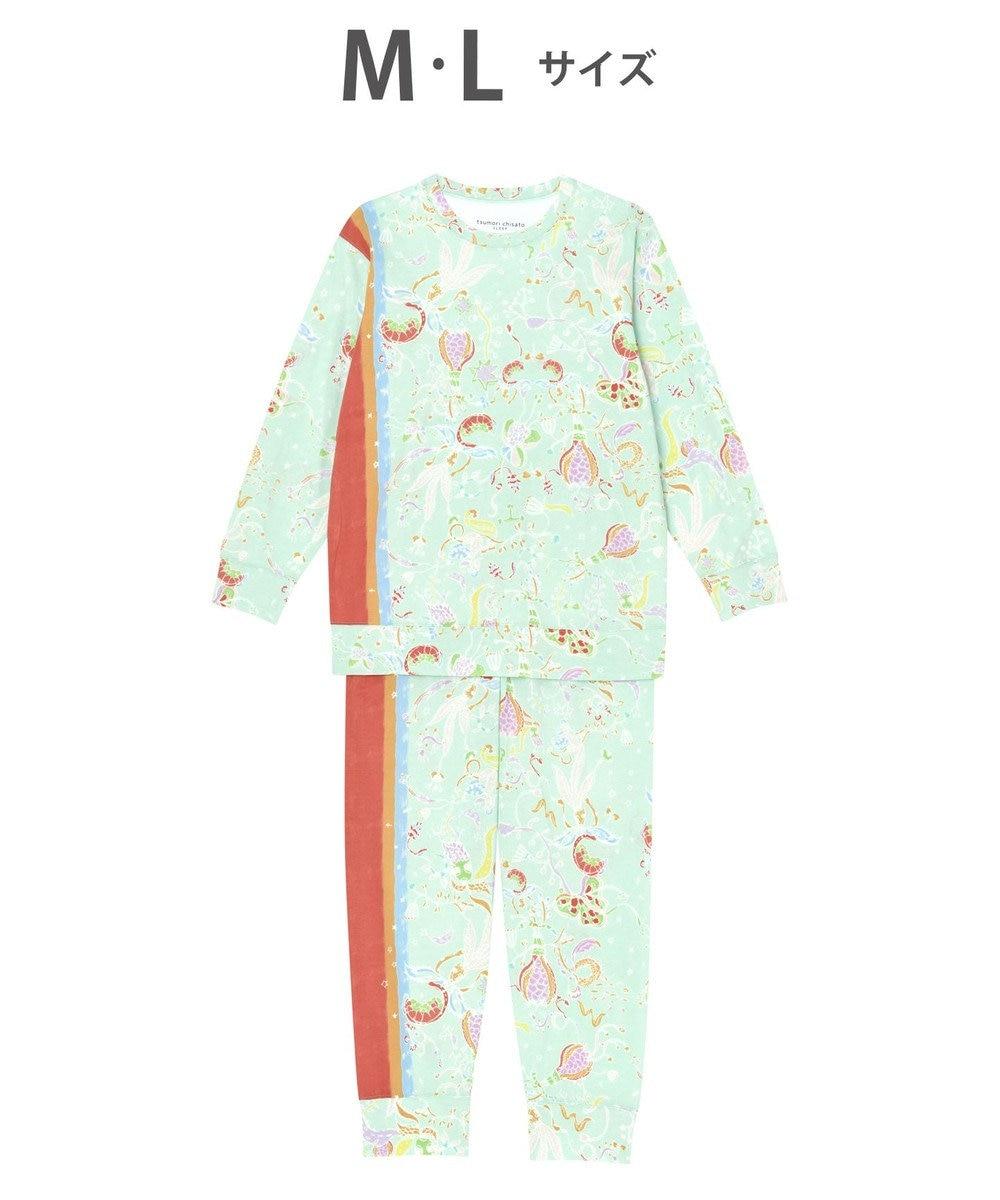 tsumori chisato SLEEP パジャマ ロング袖ロングパンツ 陽気な花柄 /ワコール UDO254 サックス
