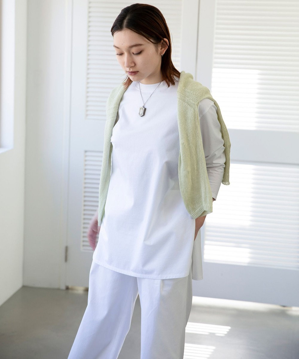 23区 L 【洗える】コットンベアジャージー ロング Tシャツ ホワイト系