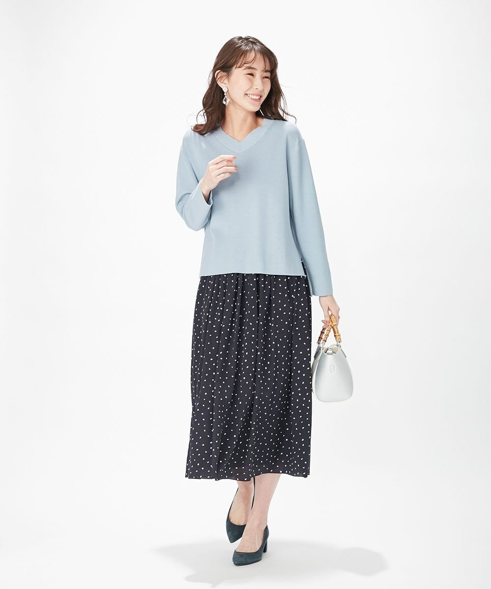 J.PRESS LADIES 【洗える】ポリエステル デシンハケメプリント フレアスカート ネイビー系5