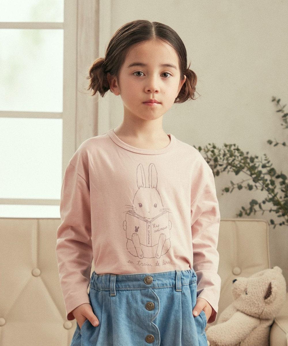 any FAM KIDS アニマル オーガビッツ 長袖Tシャツ ピンク(うさぎ)