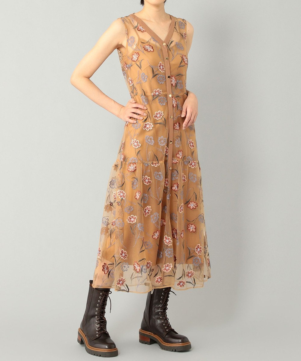 GRACE CONTINENTAL シルエットフラワーレースドレス キャメル