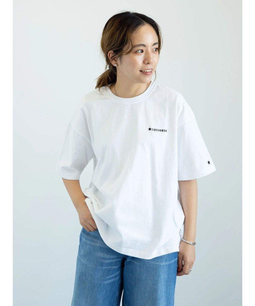 earth music&ecology CONVERSE 刺繍Tシャツ Off White