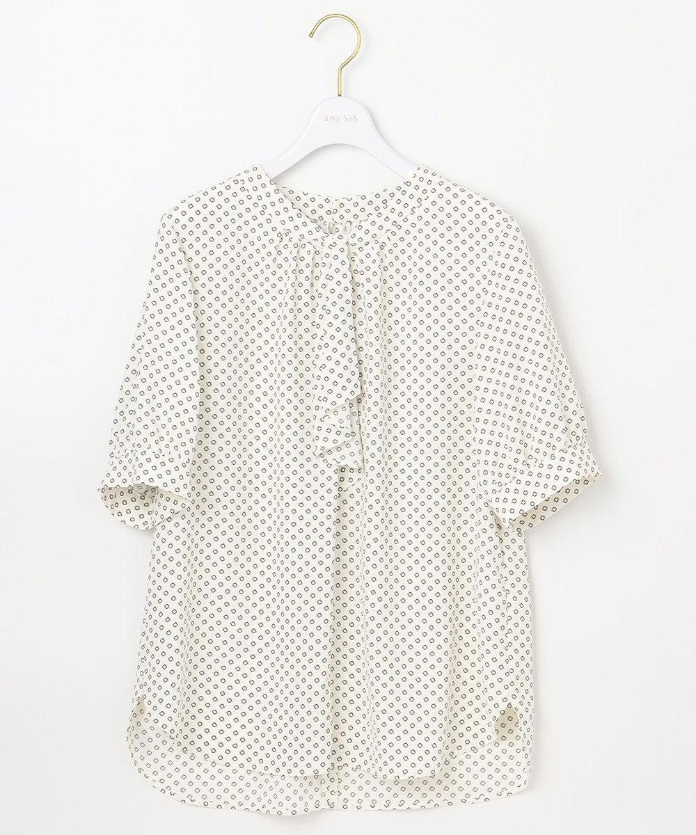 any SiS L 【洗える】トロミ ボウタイ ブラウス オフホワイトパターン