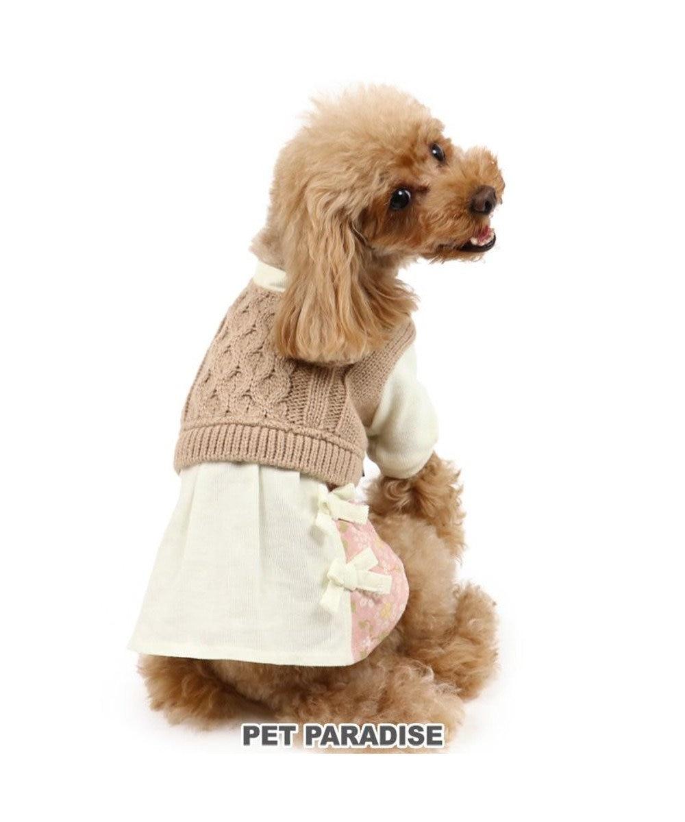 PET PARADISE 犬 服 ニット ワンピース 〔小型犬〕 白×茶 | 犬服 犬の服 犬 服 ペットウエア ペットウェア ドッグウエア ドッグウェア ベビー 超小型犬 小型犬 白~オフホワイト