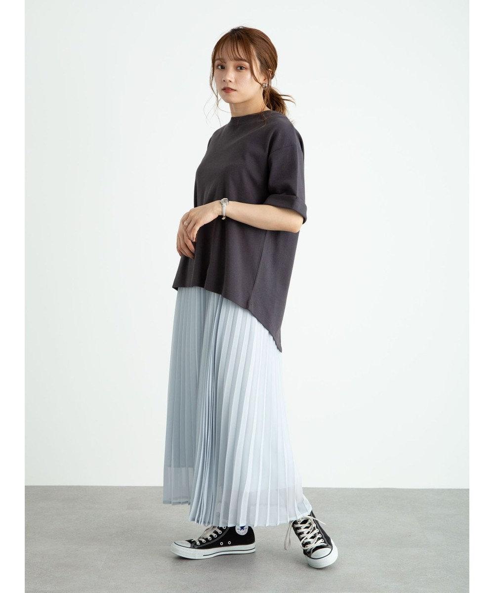 earth music&ecology スムースバックスリットTシャツ Charcoal Gray
