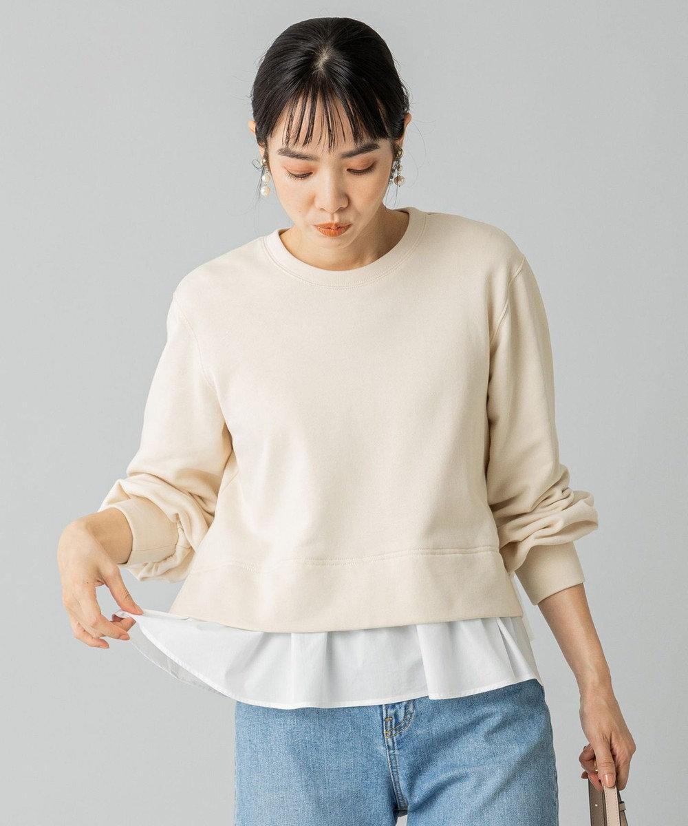組曲 L 【洗える】コンビネーションスウェット プルオーバー アイボリー系