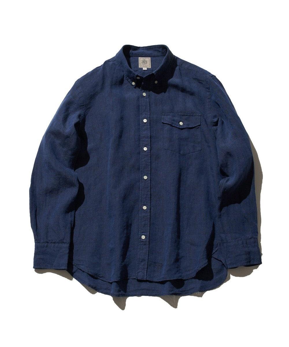 J.PRESS MEN ノルマンディーリネンショートポイント ボタンダウンシャツ ネイビー系