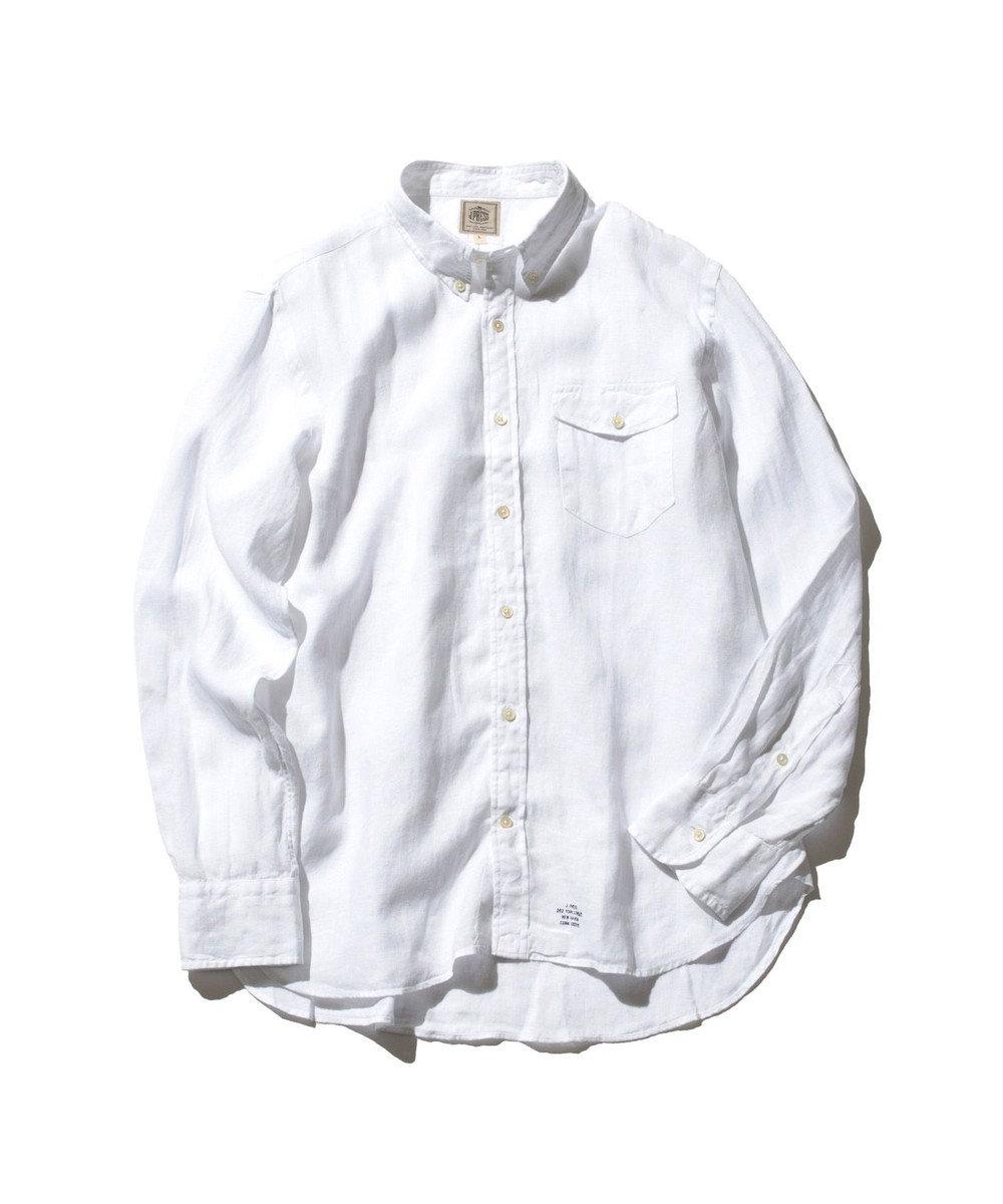 J.PRESS MEN ノルマンディーリネンショートポイント ボタンダウンシャツ ホワイト系