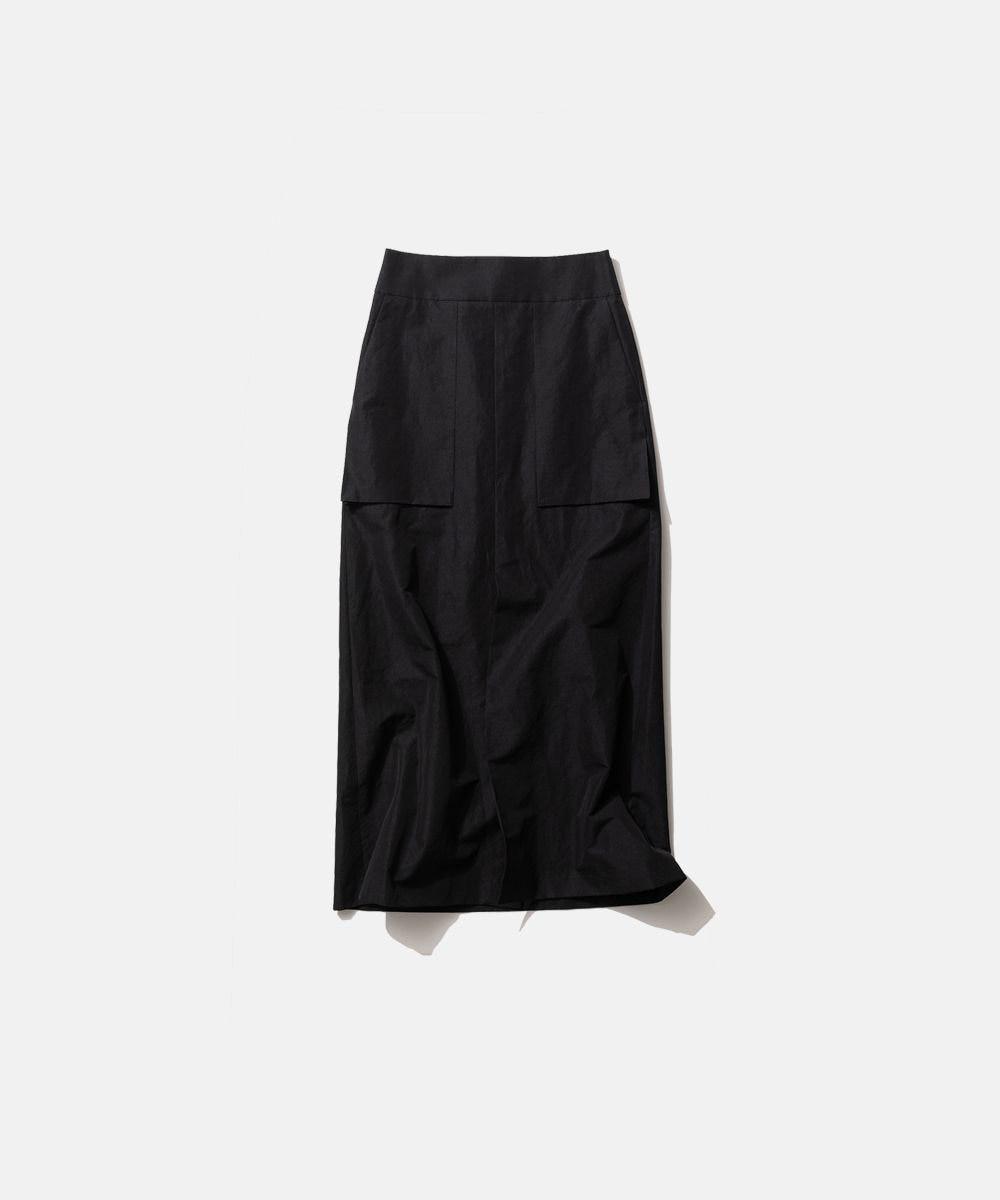 ATON SILK LINEN SHANTUNG | Aラインスカート BLACK