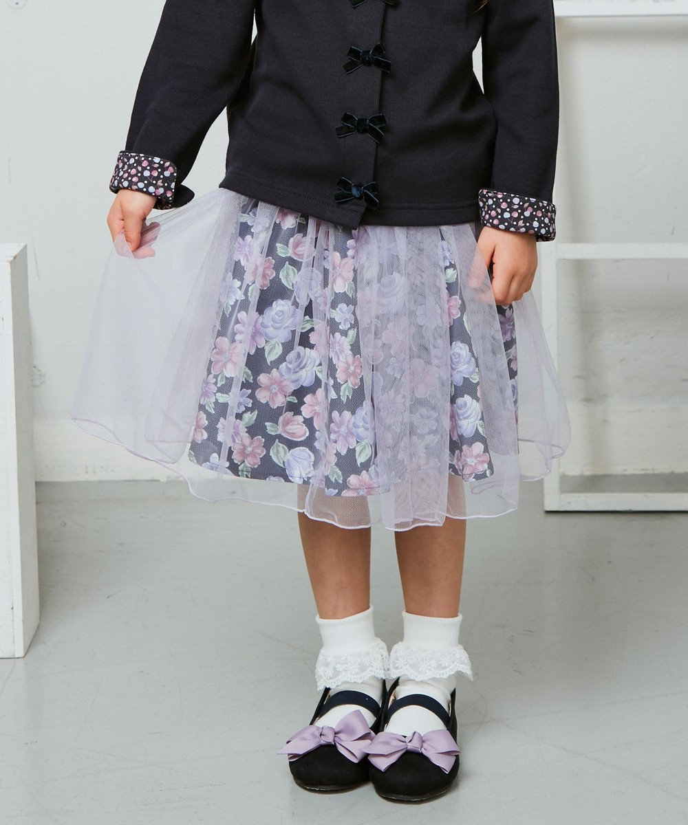 any FAM KIDS チュールスカート ネイビー×花柄
