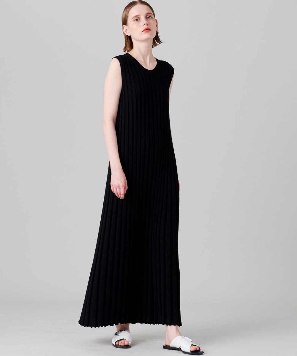 JOSEPH 【洗える】テクスチャードリブ ニットドレス ブラック系
